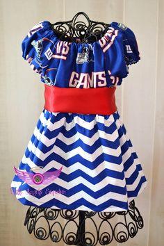 New York Giants Blue Chevron Girls Dress by LittleAngelsEmporium, $40.00