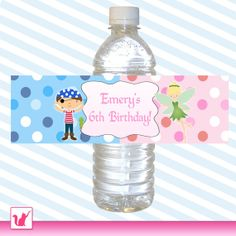 Printable Personalized Cute Pirate Fairy Green Parrot Water Bottle Label Wrappers - Blue Pink Dots Birthday Boy Girl Unisex Custom Wraps