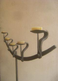 Portacandele in ferro battuto forgiato Forged wrought iron candle holders Bougeoirs en fer forgé Sostenedores de vela del hierro labrado forjado