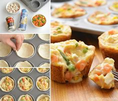 These mini chicken pot pies are SO EASY with only 4 ingredients! Such a fun and … These mini chicken pot pies are SO EASY with only 4 ingredients! Such a fun and delicious 30 minute meal idea when you have a craving for comfort food! Easy Pie Recipes, Muffin Tin Recipes, Baby Food Recipes, Cooking Recipes, Food Tips, Food Food, Easy Chicken Pot Pie, Cream Of Chicken Soup, Biscuit Chicken Pot Pie