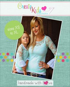 This adorable pattern is perfect for layering under all of your favorite CKC dresses!  Featuring a fun bubble sleeve, ruched ruffle, and options for 3/4- or long-sleeve, you'll be making these for every outfit this fall and winter! Use all one color for a simple look or go crazy with many prints for a one-of-a-kind look you can't find anywhere else!  This patterns is designed for use with knit fabrics.