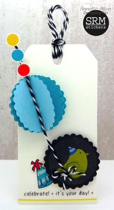 Birthday Tag by Annette Allen - Scrapbook.com - Made with adorable SRM Stickers