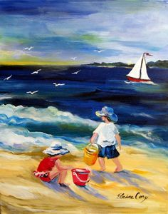 Beach Play Original Painting 16 x 20 Art by by ElainesHeartsong