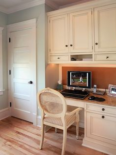 Incorporate a well designed desk area into your kitchen for Built in desk in kitchen ideas
