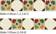 The two different rows used in the Autumn Leaves quilt.