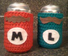 Crocheted Mario and Luigi Can Costume by lpatch13 on Etsy