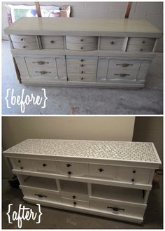 Turning an old dresser into an entertainment center. We took out the middle drawers & put in a shelf, painted it, and laid mosaic tile on the top. LOVE IT!