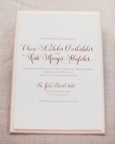 Kate + Cleon's Romantic Rose Gold Foil Wedding Invitations by Gus & Ruby Letterpress   gusandruby.com
