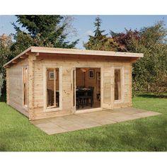 Installed Forest Garden Mendip Log Cabin x x m) Garden Log Cabins, Cabin Office, Cheap Sheds, Wooden Sheds, Backyard Sheds, Forest Garden, Garden Buildings, Timber Buildings, Shed Design