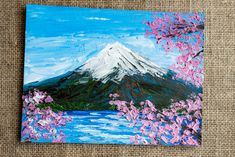 Tokio Fuji mountain and cherry blossoms original miniature impressionist palette knife oil painting, Japanese spring flowers of sakura tree. Sakura Painting, Cherry Blossom Painting, Sakura Cherry Blossom, Japanese Painting, Cherry Blossoms, Nature Paintings, Landscape Paintings, Landscapes, Fuji Mountain
