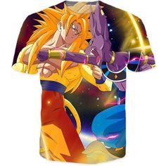 women men dragon ball z t shirt battle of gods Saiyan Goku Beerus Destroyer Anime T-Shirts Harajuku Shirts 3D Top Tee