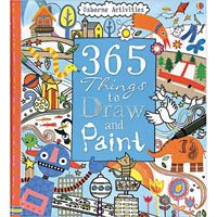 365 Things to Draw and Paint Fiona Watt  Step-by-step instructions explain how to create fi ngerprint monkeys, a chalky fish picture, collage robots, jungle silhouettes, and more. 128 pages, hardcover sprial binding.