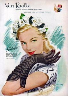 Now that is an eye-catchingly fabulous glove design! #gloves #1940s #vintage #fashion #clothing #style #accessories #ad