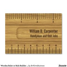 Wooden Ruler or Rule Builder or Carpenter Large Business Cards (Pack Of 100)
