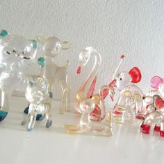 16 Vintage Animal Figurines Menagerie Clear Lucite Hard Plastic Large Lot Instant Collection