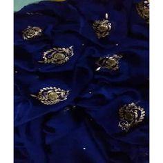 Organza Saree, Chiffon Saree, Chiffon Dress, Embroidery On Kurtis, Kurti Embroidery Design, Fancy Sarees, Party Wear Sarees, Saree Wedding, Wedding Wear