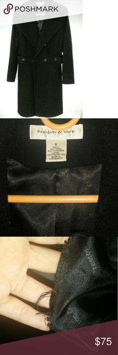 "Black Preston & York Cashmere Pea Coat size 8 Beautiful Black Pea Coat made of 20% Cashmere is a classic staple that will always be in style winter after winter. I may have worn on special occasions. Only issue is that right pocket is ripped (per pic) but the rest of the silky lining is still intact. No spots, tears or discoloration on the outside. Length is about mid-upper thigh (I'm 5'4"")  Closet kept.!Just in time for the fall/winter. **smoker in house; stays in a closed off room…"