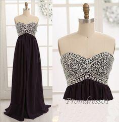 2014 beaded black sweetheart strapless chiffon long sweep prom dress for teens, ball gown, evening dress #promdress