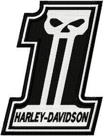 Harley Davidson number One logo embroidery design. Machine embroidery design. www.embroideres.com