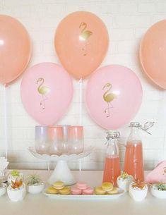 Flamant rose ballon Party. Gâteau Smash. Rose et or.
