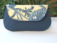 Bridesmaid Clutch Wedding Bridal Purse - Blue and Ivory Cream