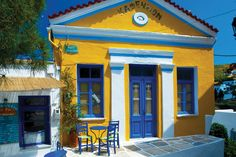 Lefkes village,Paros-Greece.The old traditional café in the central square