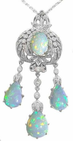Belle Eoque Opal 0.76ct Diamond 14k Gold Pendant | New York Estate Jewelry | Israel Rose