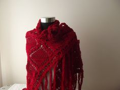 """nilsmake:  """" Red crochet shawl christmas gift for her accessories wrap shawl  """""""