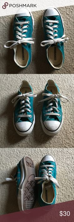 ⚡️Teal Converse Sneakers⚡️ For sale are a pair of real Converse All Stars in a size 7M! The shoe strings and soles are a little dirty from sitting out in storage for so long. I only wore these shoes a hand full of times, so they're in almost new condition! Converse Shoes Sneakers