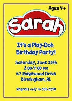 Play-Doh Birthday Party Invitation, Do-it-yourself, printable, digital.