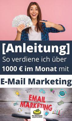 Geld verdienen mit E-Mail Marketing. So baust du dir eine Email Liste auf und generierst Geld mit deine Email Liste. Die besten Methoden, wie du dir eine E-Mail Liste aufbaust. Mit der E-Mail Liste und E-Mail Marketing kannst du sehr gutes Geld verdienen. Nicht umsonst sagt man in der Liste liegt das Geld. Mit E-Mail Marketing kannst du dir ein gutes passives Einkommen aufbauen und immer wieder neues Geld verdienen. Geld im Internet verdienen, passives Einkommen. E-mail Marketing, German, Social Media, Ads, Facebook, Business, Investing Money, Make Money On Internet, Passive Income