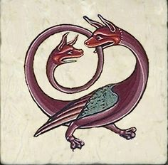 Know Your Dragons! Medieval Bestiary Dragon Tiles and Legend Medieval Books, Medieval Manuscript, Medieval Art, Illuminated Manuscript, Medieval Tattoo, Medieval Pattern, Medieval Clothing, Renaissance Art, Medieval Drawings