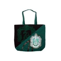 Slytherin House Canvas Two-Handled Tote Bag ($26) ❤ liked on Polyvore featuring bags, handbags, tote bags, green handbags, canvas tote bags, tote hand bags, canvas tote purse and canvas purse
