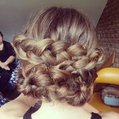 Boho braid up do. Wedding hair - By georgiawalshmakeup.com