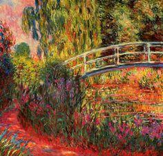 Claude Monet. The Japanese Bridge - The Water-Lily Pond, Water Irises (1900).