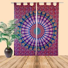 Boho Curtain, Gypsy Curtains, Hippie Window Treatment, Tapestry Curtains For Living Rooms