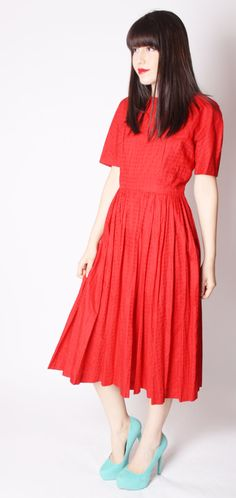 40 Off SALE  Red Vintage Swissdot Cotton Mad Men by aiseirigh, $70.80