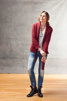 Ravelry: Channel Cardigan pattern by Jared Flood Shrug Cardigan, Red Cardigan, Cardigan Pattern, The Cardigans, Sweaters For Women, Women's Sweaters, Brooklyn Tweed, Yarn Inspiration, Ribbed Fabric