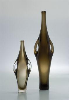 Z.Horbowy. Wazony Huta Szczytna w Szczytnej Śląskiej 1961 wł.MNWr. Glass Collection, Mid Century Design, Vintage Designs, Teak, Home Furniture, Glass Art, Delicate, Art Deco, Vase