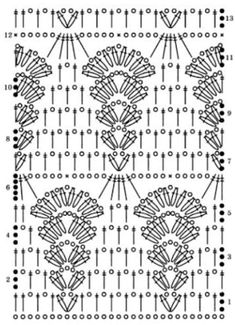 Crochet Diagram, Crochet Motif, Crochet Doilies, Crochet Stitches Patterns, Knitting Stitches, Stitch Patterns, Cute Crochet, Crochet Baby, Knit Crochet
