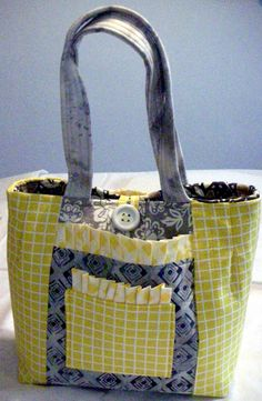 Veranda Tote/Yellow and Gray by QuiltingMyWay on Etsy, $35.00