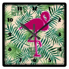 Tropical Leaves Pattern and Pink Flamingo Square Wall Clock - home gifts ideas decor special unique custom individual customized individualized Flamingo Art, Pink Flamingos, Pink Shoelaces, Wall Clock Design, Pink Bedding, Tropical Leaves, Art Projects, Project Ideas, Home Gifts