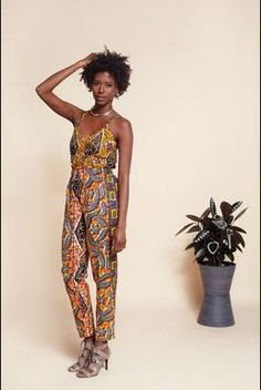 Stunning jumpsuit features shoulder-flattering spaghetti straps, elasticized waist and side pockets. Made with Authentic Holland wax print cotton fabric. Mode Wax, African Fashion Designers, African Design, African Style, African Theme, Fashion Looks, Fashion Tips, Fashion Quotes, Fashion Ideas