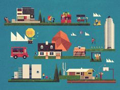 Little Cities Blue Muted by Dan Matutina [Twistedfork]