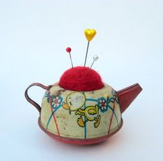 Pin Cushion - Needle Felted - In Vintage Tin Toy Teapot
