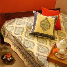 Morning Dew~Stylish Elegant French Yellow Blue Queen Duvet Cover, $159.99