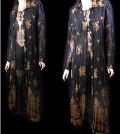 Vtg 80s Gothic India Wiccan Gothic Witchy Festival Baroque Floral Bohemian  Opera Kimono Gypsy Flapper Grunge Lace Dress Jacket Duster Cape 1d980fbcd963e