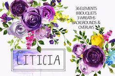 30%off Purple Violet Flower Clipart  by whiteheartdesign on @creativemarket