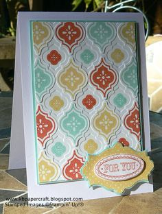 SU! Mosaic Madness and Layered Labels stamp sets; Modern Mosaic embossing folder; Mosaic punch; Apothecary Accents and Oval Framelits; colors are Pool Party, So Saffron and Calypso Coral - Kerry Bunting