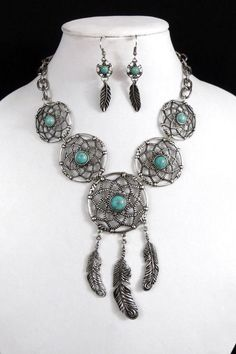 Cowgirl Bling Western DREAM CATCHER Feather TURQUOISE Native Gypsy necklace set #city